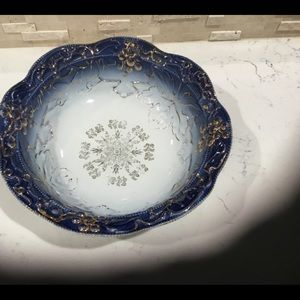 Cobalt Blue & White Big Vintage Bowl